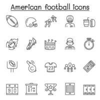conjunto de ícones de linha do vetor relacionados ao futebol americano. contém ícones como bola, apito, jogador, camisa, troféu, capacete, touchdown, árbitro, ingresso, placar, estádio, junk food e muito mais.