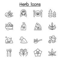 ícone de erva definido em ilustração vetorial de estilo de linha fina