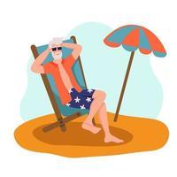 homem idoso tomando banho de sol na praia. o conceito de velhice ativa. dia do idoso. ilustração em vetor plana dos desenhos animados.