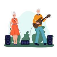 um casal de idosos toca violão e canta. o conceito de velhice ativa. dia do idoso. ilustração em vetor plana dos desenhos animados.