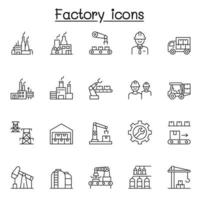 ícones de fábrica e industriais definidos em estilo de linha fina vetor