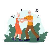 um casal de idosos dançando no parque. o conceito de velhice ativa, esportes e entretenimento. dia do idoso. ilustração em vetor plana dos desenhos animados.