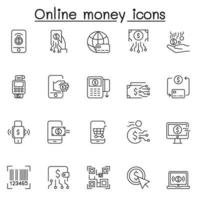conjunto de ícones de linha do vetor relacionados com dinheiro online. contém ícones como criptomoeda, banco on-line, e-money, pagamento on-line, sem dinheiro, cartão de crédito, e-wallet, investimento, compras on-line e muito mais.