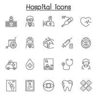 ícones de hospital em estilo de linha fina vetor