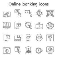 ícones de banco on-line definidos em estilo de linha fina