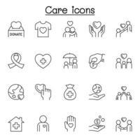 ícones de cuidados definidos em estilo de linha fina