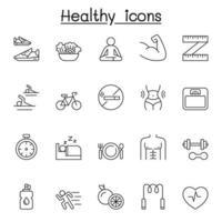 ícones saudáveis definidos em estilo de linha fina