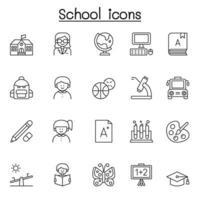 ícone de escola e educação em estilo de linha fina