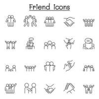ícone de amigo definido em estilo de linha fina