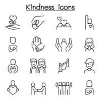 gentileza, cuidado, ícone voluntário definido em estilo de linha fina