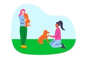 voluntários cuidando de cães vadios vetor