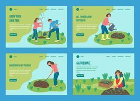 conjunto de páginas de destino de jardinagem de pessoas vetor