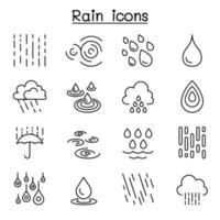 ícone de chuva definido em estilo de linha fina