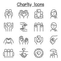 caridade, gentileza, amizade, ícone de cuidado definido em estilo de linha fina