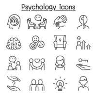 ícone de psicologia definido em estilo de linha fina