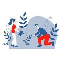 um homem e uma mulher plantando uma árvore vetor