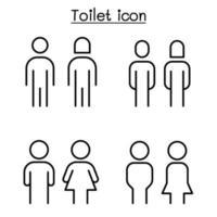 banheiro, sinal de banheiro em estilo de linha fina