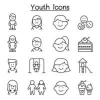 ícone da juventude definido em estilo de linha fina vetor
