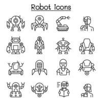 robô, ícone IA definido em estilo de linha fina