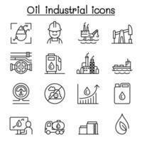 ícone de óleo definido em estilo de linha fina vetor