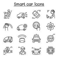 ícone de carro inteligente definido em estilo de linha fina