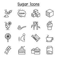 ícone de açúcar definido em estilo de linha fina vetor
