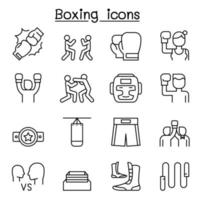 ícone de boxe definido em estilo de linha fina vetor