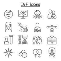 ivf, ícone de fertilização in vitro definido em estilo de linha fina vetor
