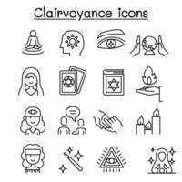 clarividência, ícone de cartomante definido em estilo de linha fina