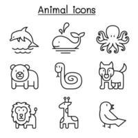 ícone de animal definido em estilo de linha fina vetor