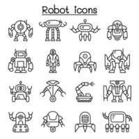 ícone do robô definido em estilo de linha fina