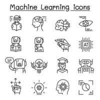 conjunto de ícones de aprendizado de máquina em estilo de linha fina