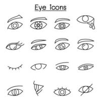 ícone de olho definido em estilo de linha fina vetor