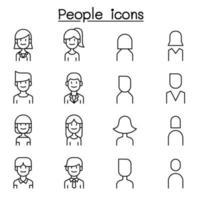pessoas, ícone do usuário definido em estilo de linha fina