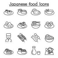 ícone de comida japonesa definido em estilo de linha fina