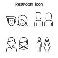 toalete moderno, banheiro, símbolo de banheiro definido em estilo de linha fina