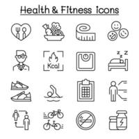 saúde, fitness, ícone de dieta definido em estilo de linha fina vetor