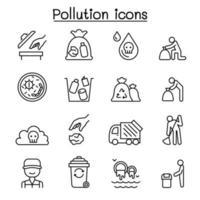 ícone de poluição definido em estilo de linha fina