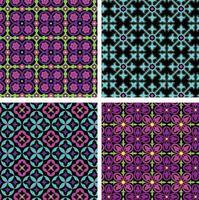 Néon azul rosa roxo ornamentado padrões de azulejos sem costura em fundos pretos