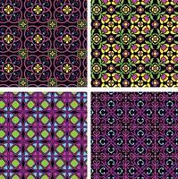 neon mod rnate padrões geométricos e florais sem costura em fundos pretos