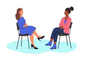 empresárias interraciais em cadeiras vetor