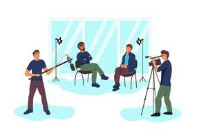 gravando uma entrevista jornalística no estúdio