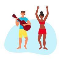 casal interracial na praia