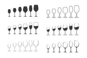 conjunto de ícones de taça de vinho vetor