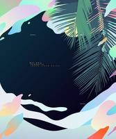 folha de coco tropical e fundo de nuvem líquida fitodélica pastel