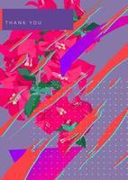 flor tropical e elemento de tinta de respingo de pincel. estilo retro moderno, fundo gráfico vetorial