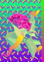 flor tropical e elemento gráfico dos anos 80. estilo retro moderno, fundo gráfico vetorial