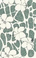 padrão sem emenda de vetor com formas abstratas orgânicas e flor de hibisco exótico de linha. impressão retro vintage da arte abstrata