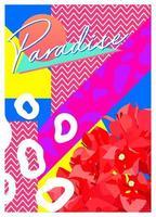 flor exótica e fundo de elemento dos anos 80, fundo de ilustração gráfica retro moderna