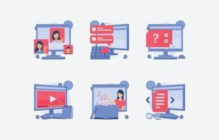 novo conjunto de ícones de escola virtual normal vetor